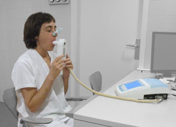 A spirometer measures lung function and is used to monitor changes in a PALS functional abilities